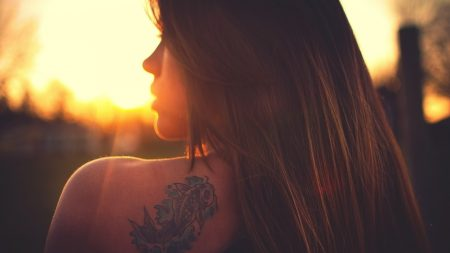 blonde, tattoo, light