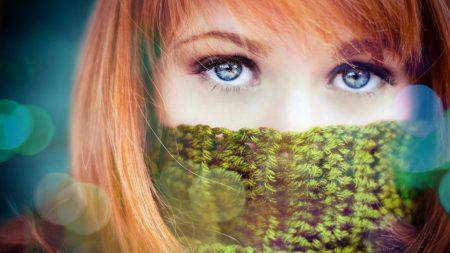 blue-eyed, girl, scarf