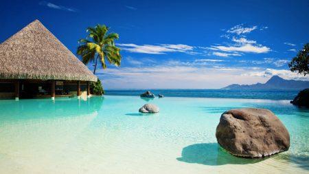 blue water, stones, bungalow