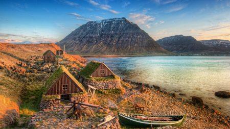 boat, coast, lodges