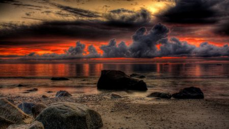 boulders, beach, clouds