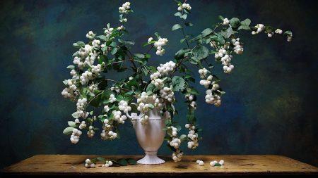 bouquet, vase, table