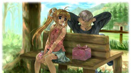 boy, girl, bench
