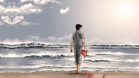 boy, heart, shore