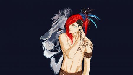 boy, indian, lion