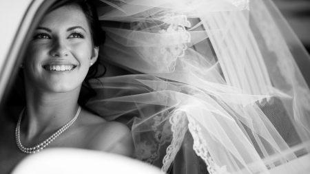 bride, veil, smiling