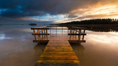 bridge, lake, wooden