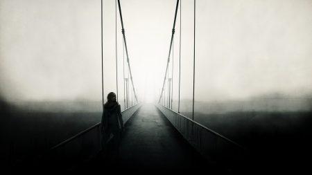 bridge, man, fog