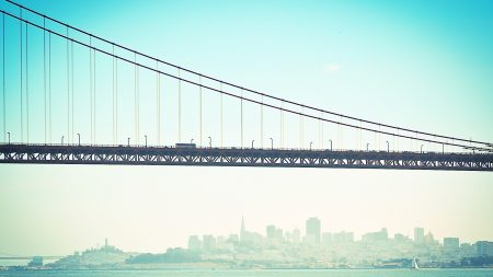 bridge, mist, river