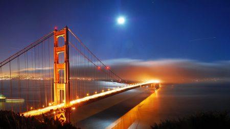 bridge, night, lights