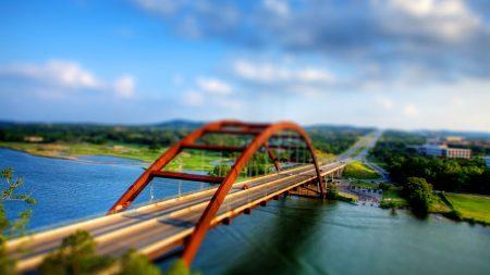 bridge, river, car