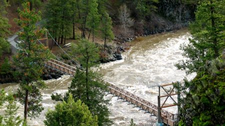 bridge, river, mountain