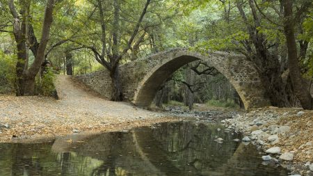 bridge, river, stones