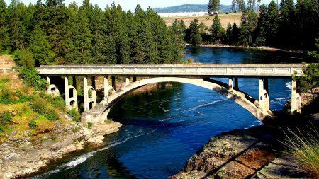 bridge, river, wood