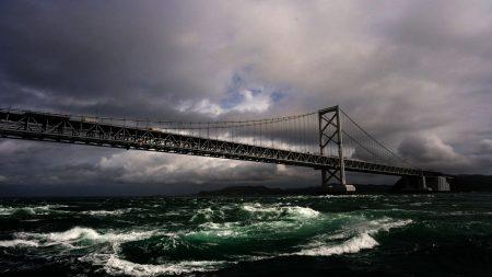 bridge, sea, sky