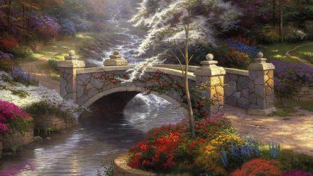 bridge, stone, small river