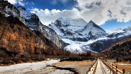 bridge, wood, mountain