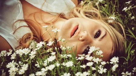 brown-eyed, blonde hair, grass