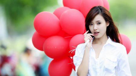 brunette, asian, balloons