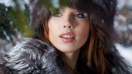brunette, cap, green-eyed