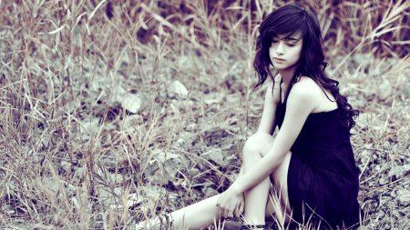 brunette, dress, field
