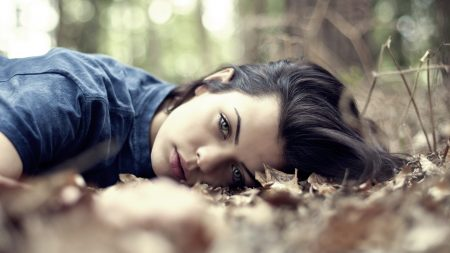brunette, face, lie down