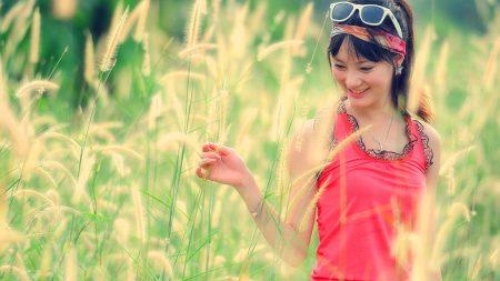 brunette, girl, grass