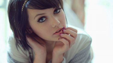brunette, girl, young