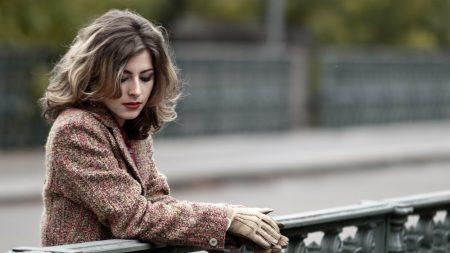 brunette, gloves, sweater