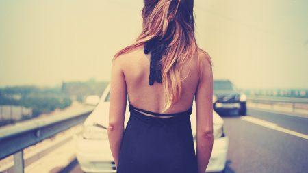 brunette, road, car
