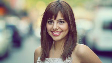 brunette, smile, haircut