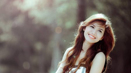 brunette, smile, happiness