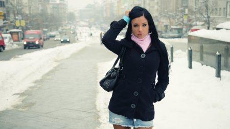 brunette, winter, street style