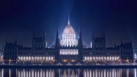 budapest, night, river