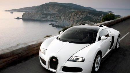 bugatti, white, auto