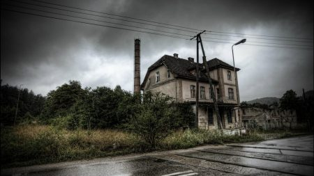 building, abandoned, grass