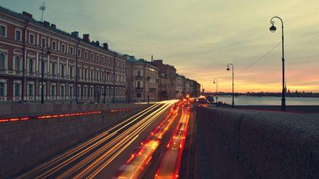 building, night, river