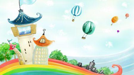 building, rainbow, balloons