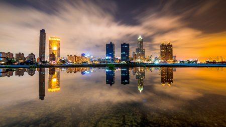 buildings, night, skyscrapers