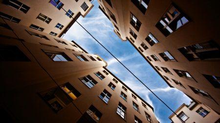 buildings, sky, up