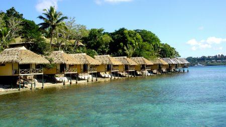bungalow, row, coast
