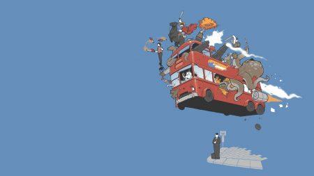 bus, flight, sky