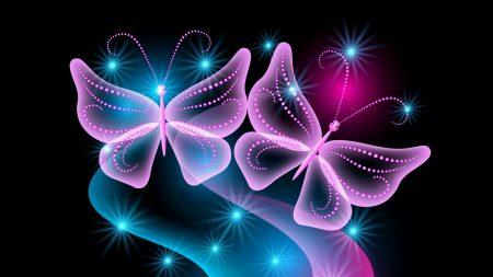 butterflies, neon, light