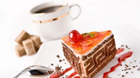 cake, coffee, cup