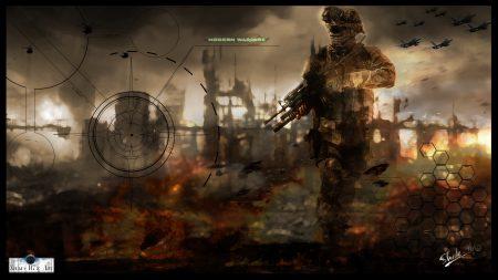 call of duty modern warfare 2, soldier, gun