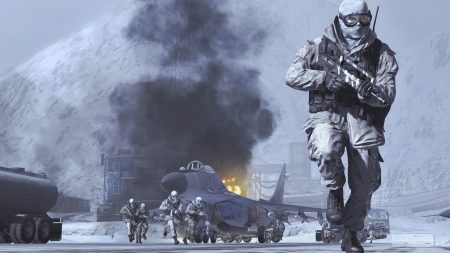 call of duty modern warfare 2, soldiers, snow