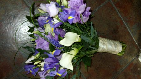 calla lilies, iris, lisianthus russell