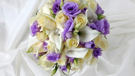 calla lilies, roses, lisianthus russell