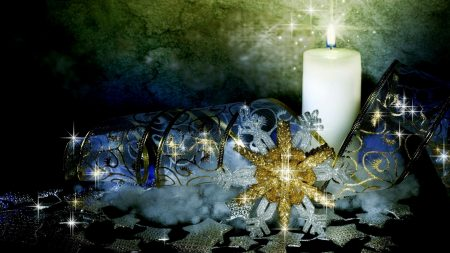 candle, ribbons, snowflake
