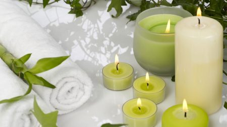 candles, aromatherapy, leaves
